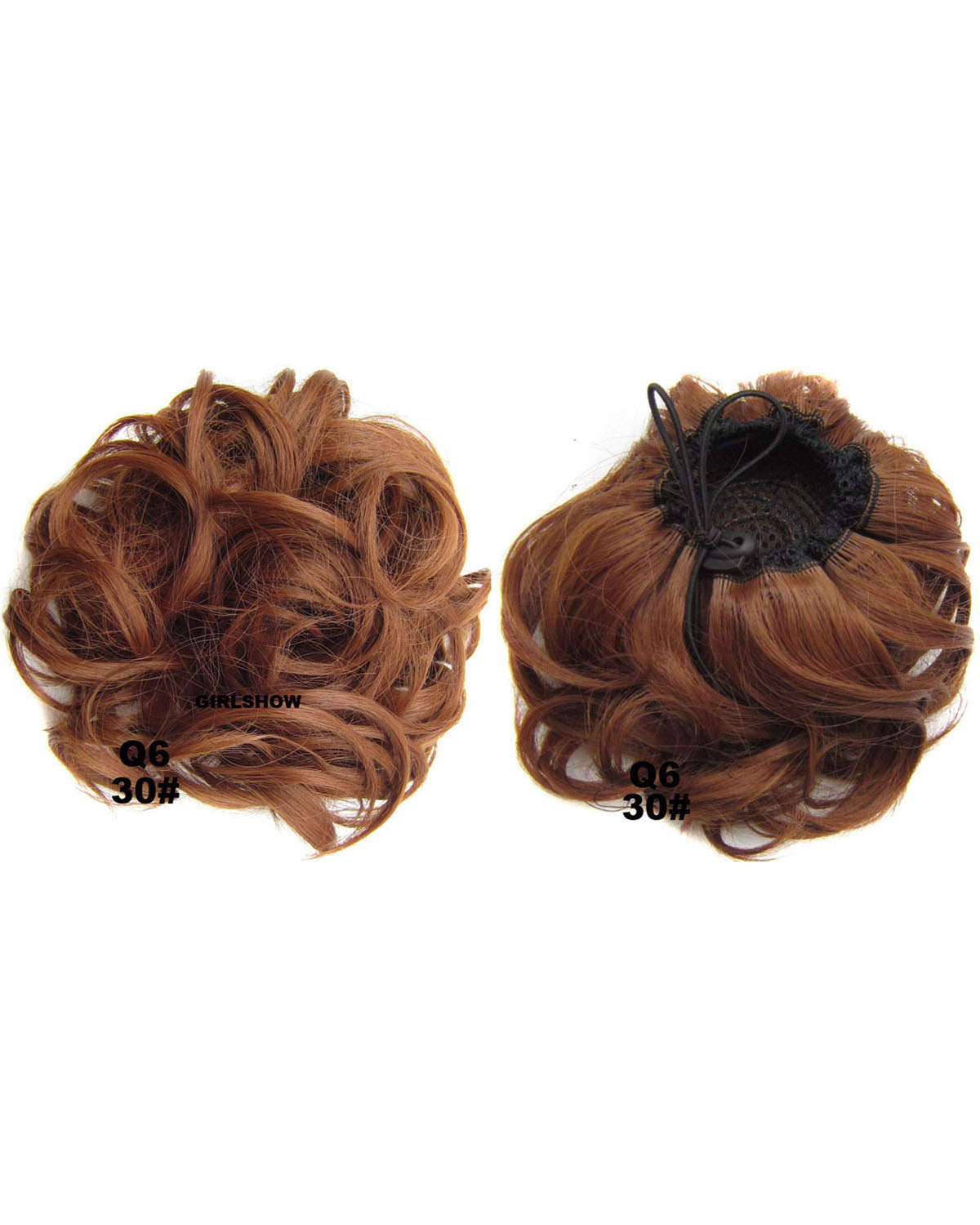 Ladies Sophisticated Curly and Short Hair Buns Drawstring Synthetic Hair Extension Bride Scrunchies  30#