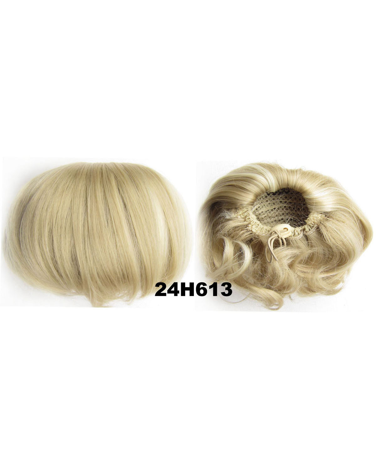 Ladies Straight Short Hair Buns Drawstring Synthetic Hair Extension Bride Scrunchies 24H613