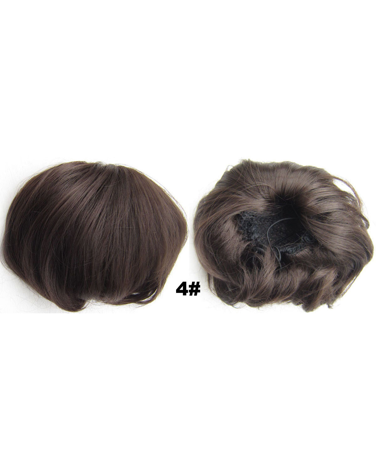 Ladies Winsome Straight Short Hair Buns Drawstring Synthetic Hair Extension Bride Scrunchies 4#