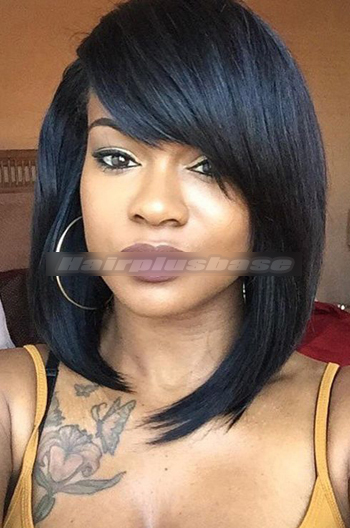 14 Inch Layered Medium Bob With Side Swept Bangs Celebrity Lace Wigs