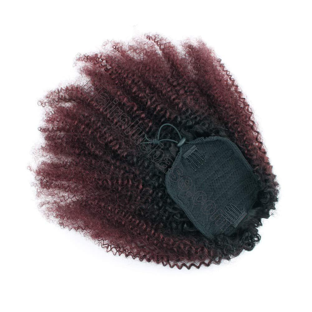 10 - 30 Inch Ombre Kinky Curly Human Hair Ponytail Drawstring Clip Ponytail Extensions #1B/Dark 99J no 1