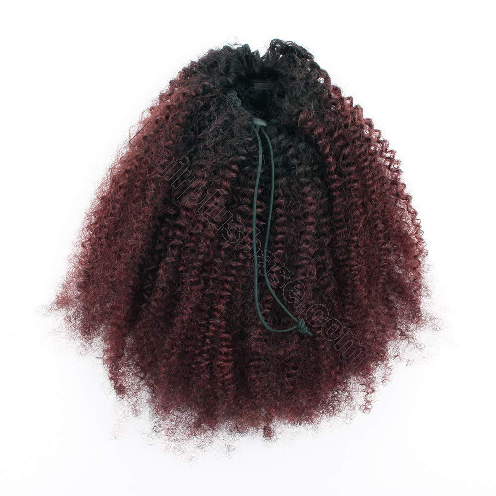 10 - 30 Inch Ombre Kinky Curly Human Hair Ponytail Drawstring Clip Ponytail Extensions #1B/Dark 99J no 4