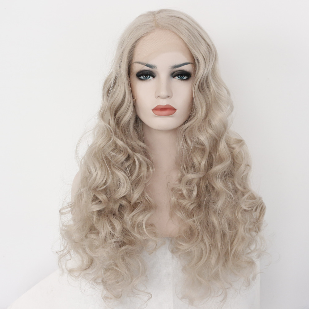 Light Grey Bodywave Glueless Synthetic Lace Front Wig