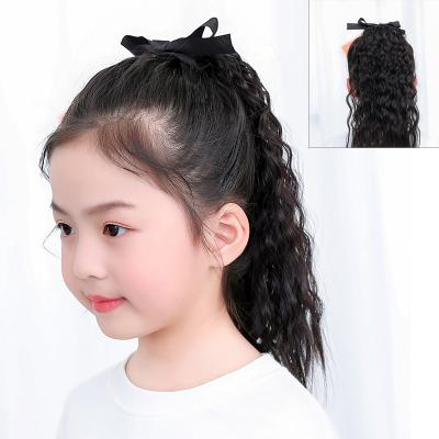 Little Girl Lace/Ribbon Ponytail Extension Human Hair Curly