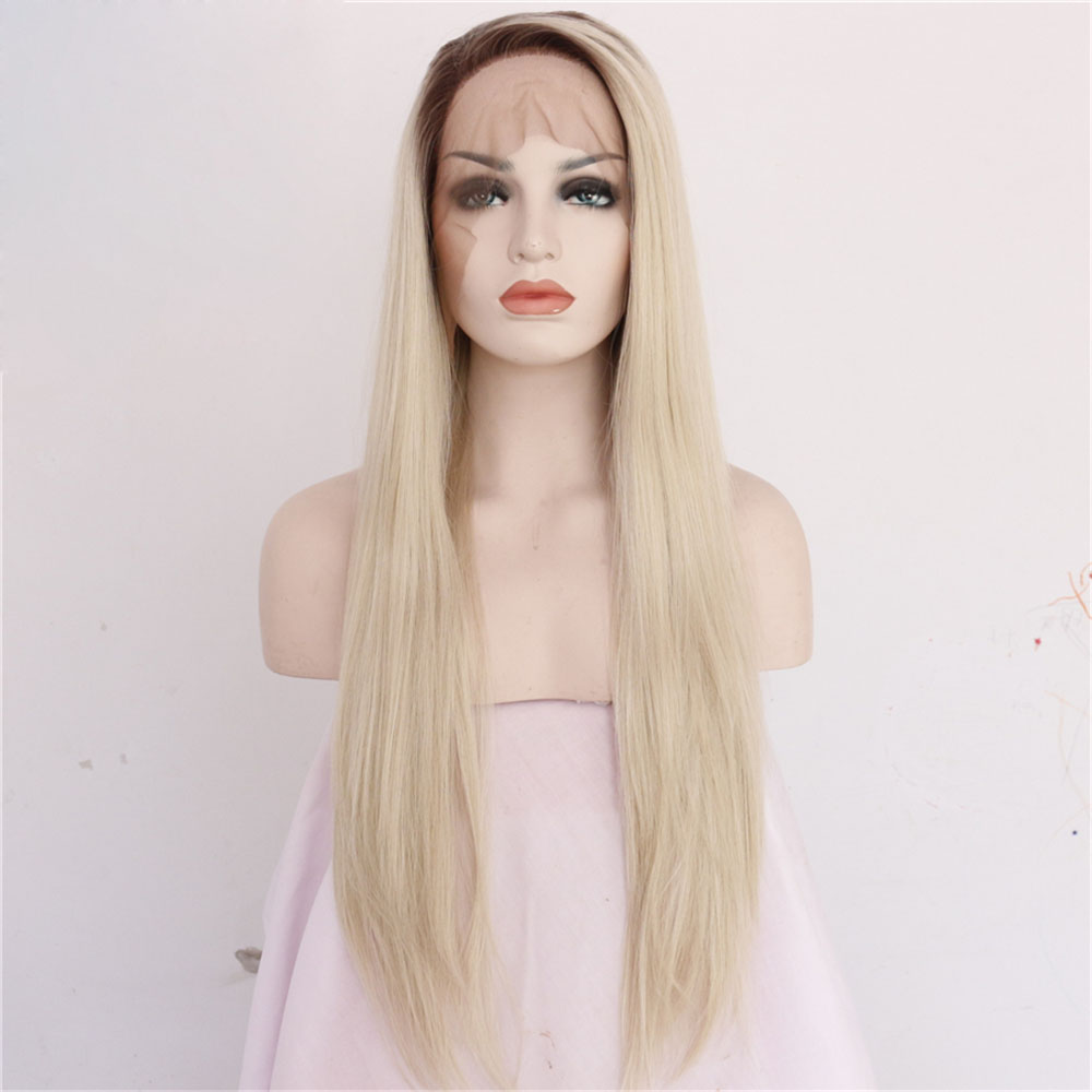 Long Blonde Straight Glueless Lace Front Wigs