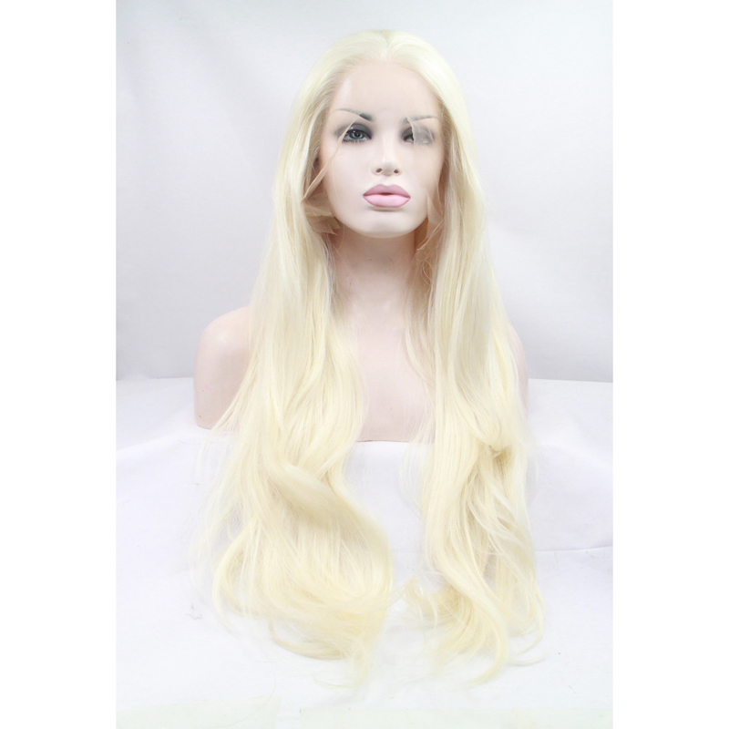 Long Blonde Wavy Synthetic Glueless Lace Front Wig