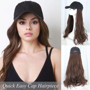 Long Body Wavy Cap Hairpiece Wigs No Tape No Clip Hair Topper Cap With Black Cap for Women