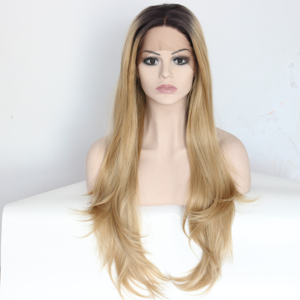 Long Nature Ombre Blonde Synthetic Lace Front Wigs For Women