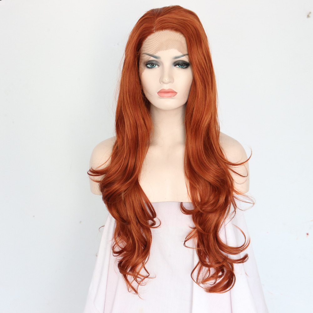 Long Nature Wavy Brown Glueless Synthetic Lace Front Wigs 0