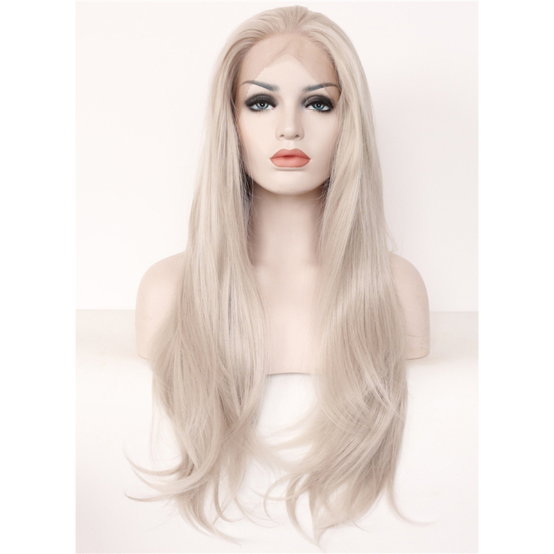 Long Sexy Handmade Silver Grey Nature Wavy Lace Front Wig