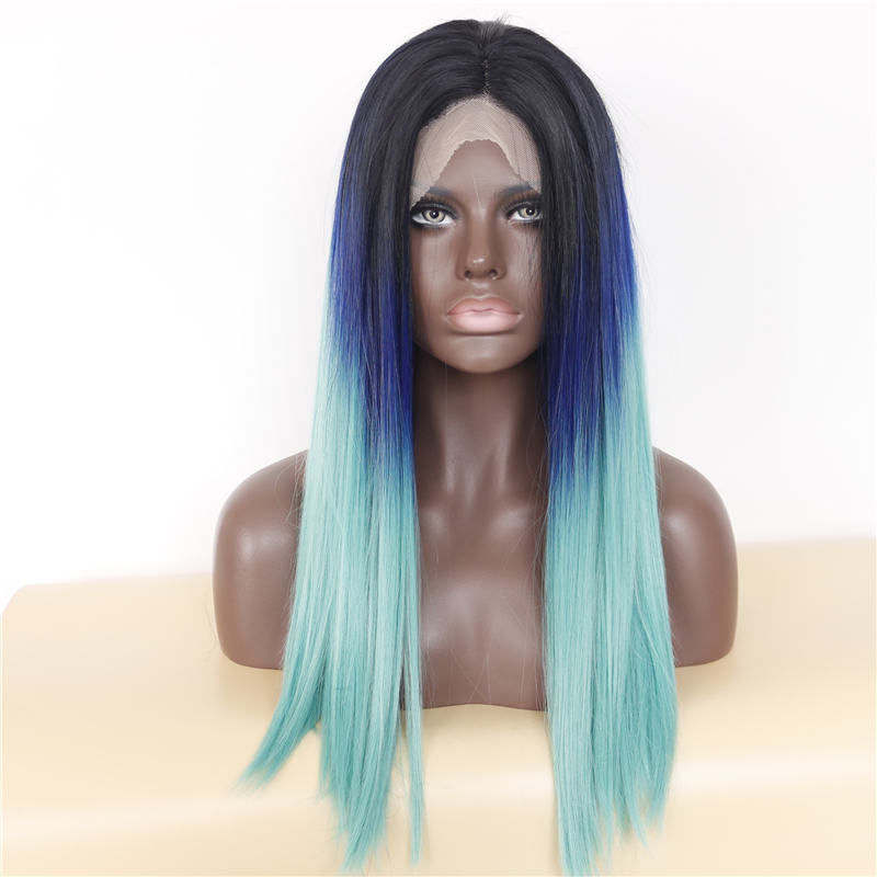 Long Straight Ombre Blue Lace Front Wig For Black Women