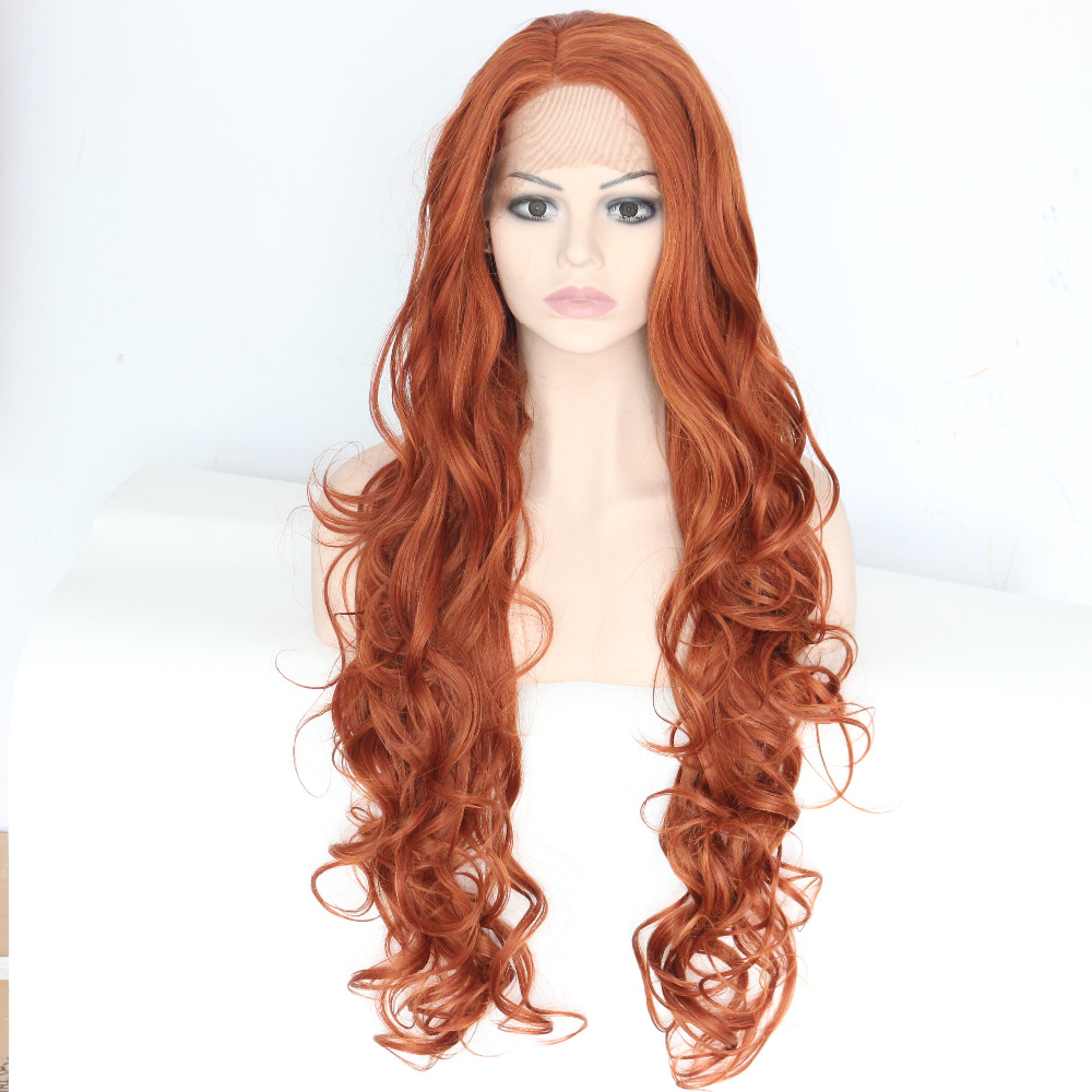 Long Wavy Brown Glueless Lace Front Synthetic Wig