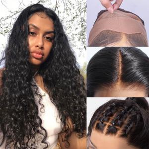 Loose Curl Human Hair Fake Scalp Invisible Lace Front Wigs With Bleached Knots 150%-200% Density