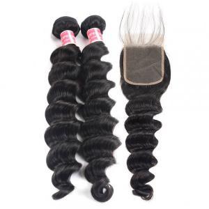 Loose Deep Wave 2 Bundles With Lace Closure Human Virgin Hair weave
