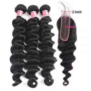 Loose Deep Wave Human Hair Weave with closure 2x6 inch Virgin hair