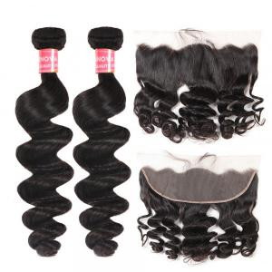Loose Wave Hair 2 Bundles With 13×4 Lace Frontal Loose Wave Weave Hair