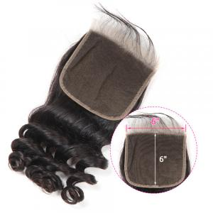 Loose Wave Hair 6x6 Inch Pre-Plucked Virgin Human Hair Lace Closure
