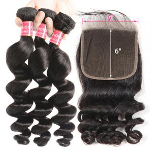 Loose Wave Human Hair 6x6 Pre-Plucked Lace Closure With 3 Hair Bundles