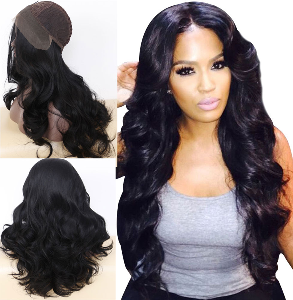 Luxurious Long Wavy Black Synthetic Lace Front Wigs