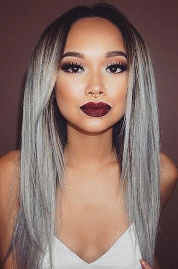 Luxury Silver/Grey Ombre Straight Brazilian Virgin Hair Celebrity Lace Wigs