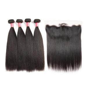 Malaysian Human Hair Straight Hair Bundles With 13x4 Lace Frontal