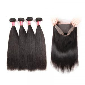 Malaysian Straight Human Hair 4 Bundles With 360 Lace Frontal Closure