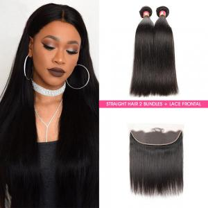 Malaysian Straight Virgin Human Hair 2 Bundles With 13*4 Lace Frontal