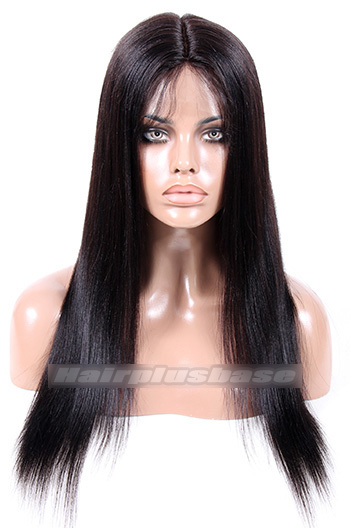 18 Inch Light Yaki Malaysian Virgin Hair Full Lace Wigs