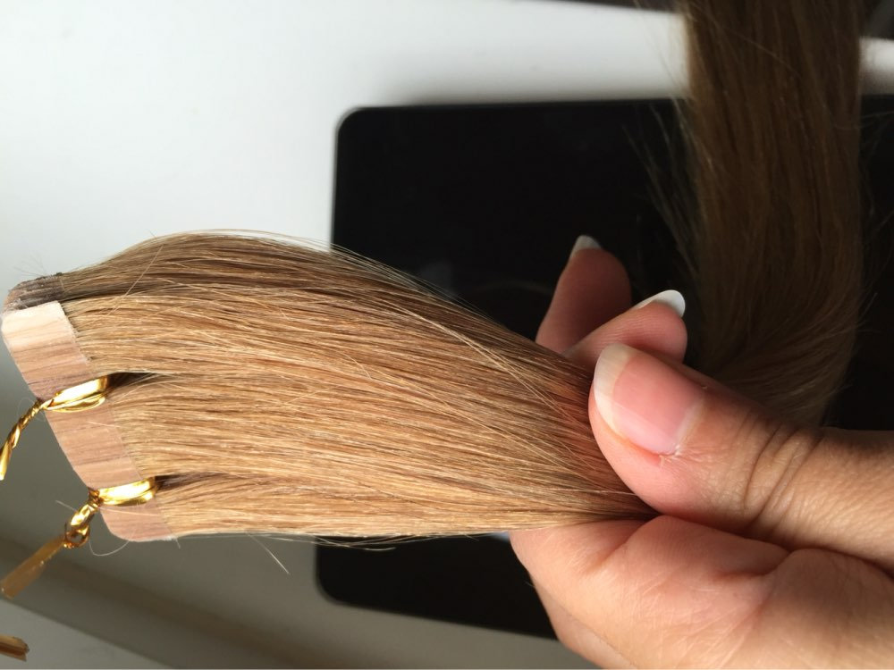16 Inch #16 Golden Blonde Tape In Human Hair Extensions 20pcs 04