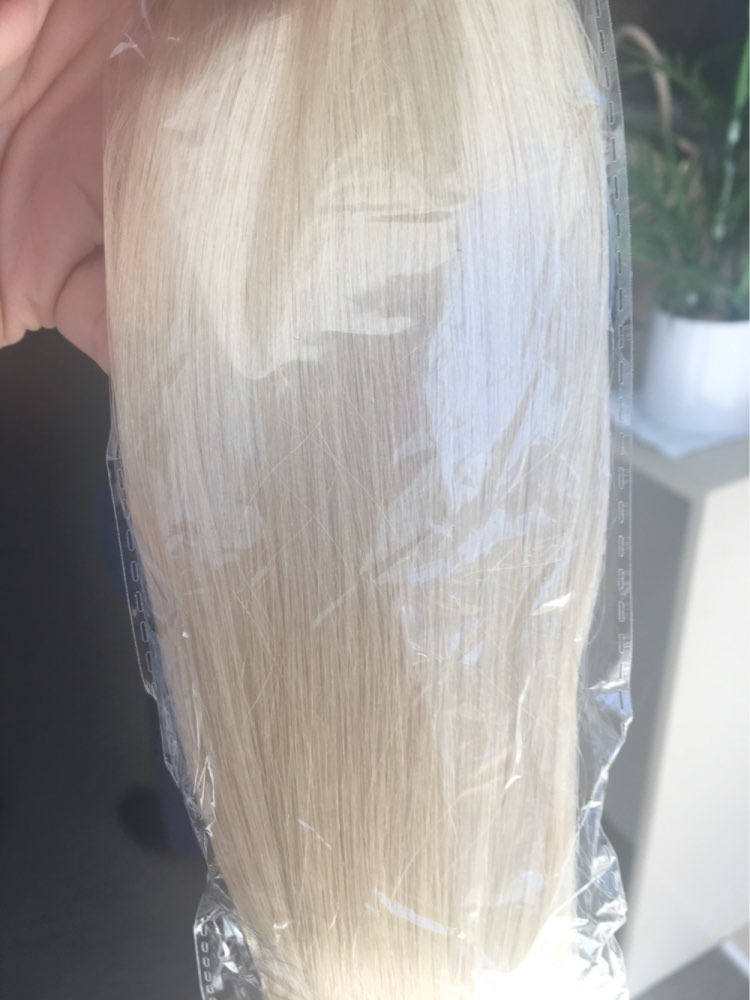 10 - 30 Inch Tape In Remy Human Hair Extensions #60 White Blonde Straight 20 Pcs 05