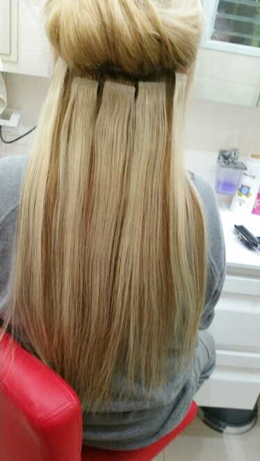 16 Inch #613 Bleach Blonde Tape In Human Hair Extensions 20pcs 01