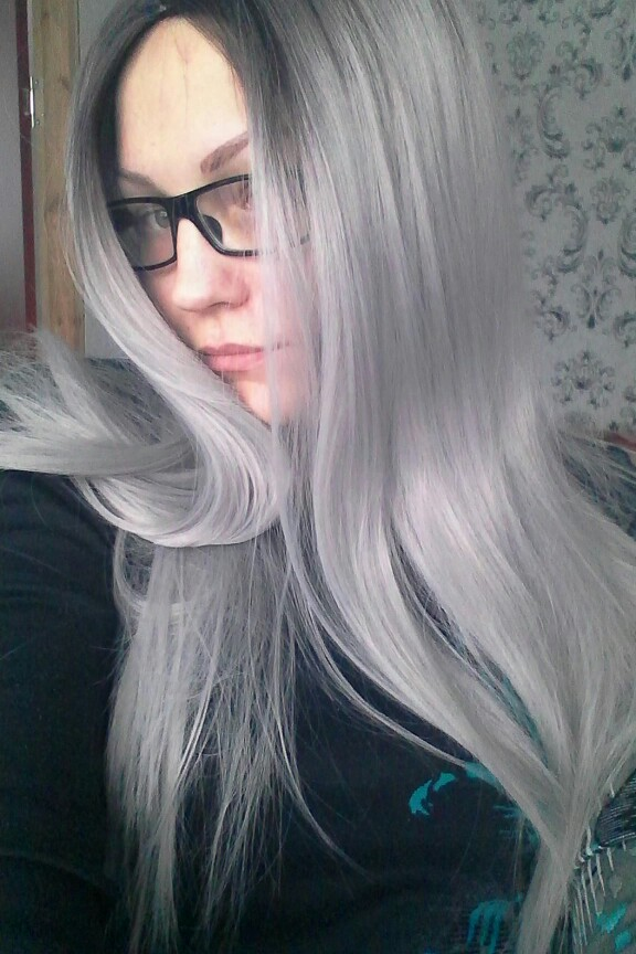 Two Tones Ombre Lace Front Wig with Black to Gray Gradient Heat Resistant Hair 11