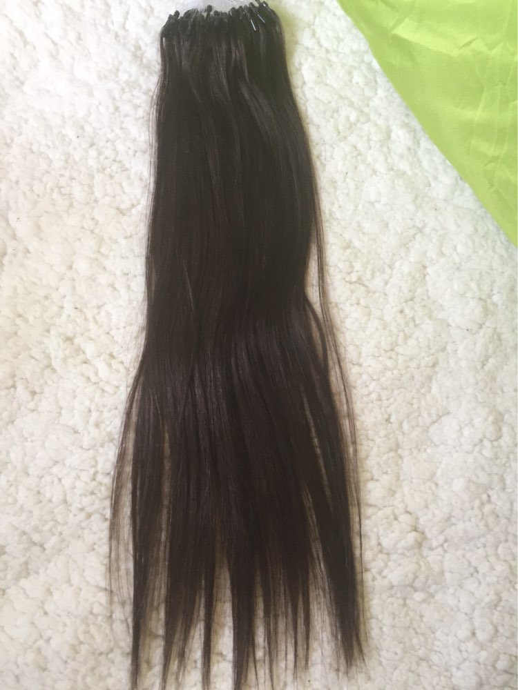 16 Inch #2 Dark Brown Micro Loop Human Hair Extensions 100S 03