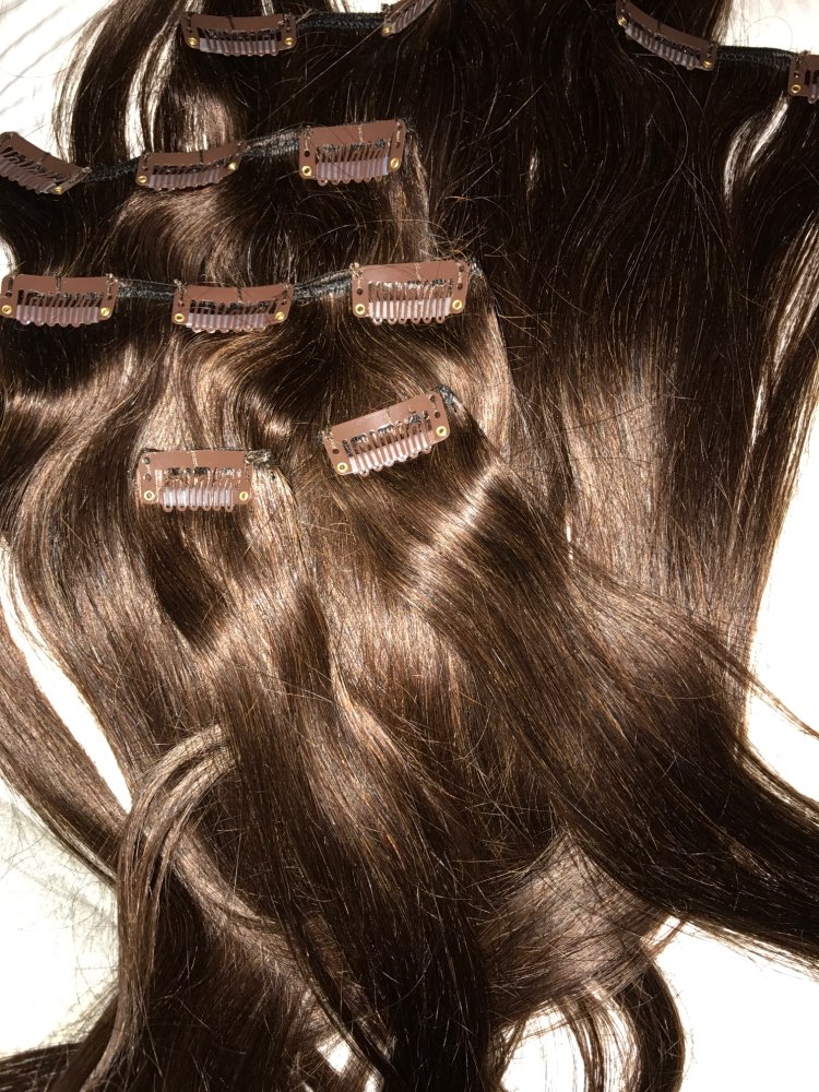 Medium Brown Clip In Human Hair Extensions 7pcs 06
