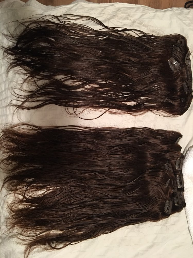 Medium Brown Clip In Human Hair Extensions 7pcs 04