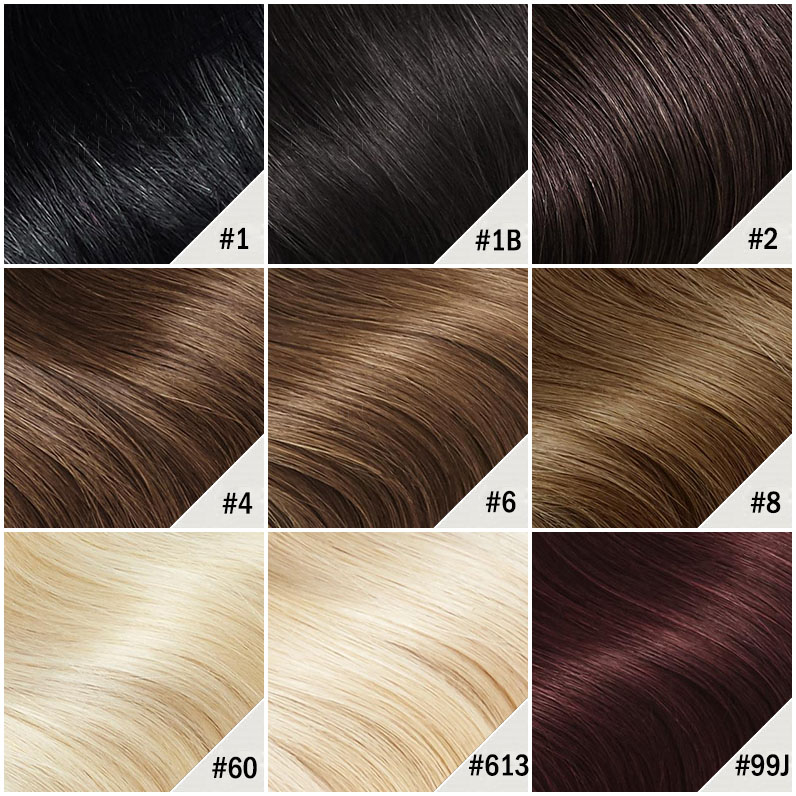 10 - 30 Inch Brazilian Remy Tape In Hair Extensions #1B Natural Black Kinky Straight 20 Pcs Color Chart 1