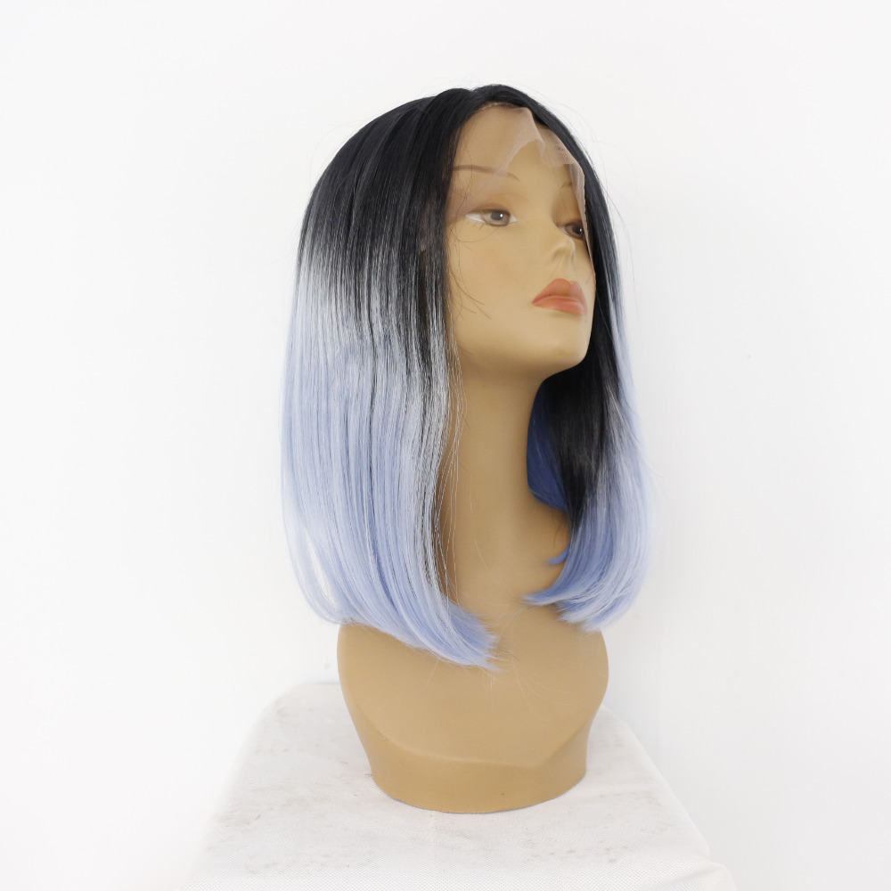 Medium Bob Straight Dark Roots Ombre Blue Lace Front Wig