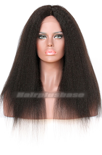 Natural Looking Kinky Straight Indian Remy Hair Middle Part Glueless Silk Part Lace Wigs