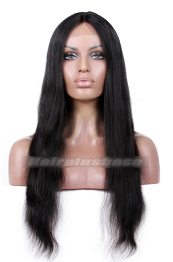 18 Inch Natural Straight Indian Remy Hair Middle Part Glueless Silk Part Lace Wigs