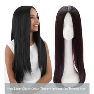 """Middle Part Straight Hair Topper with Clips for Women with Thinning Hair 26"""" Long Hairpiece, Thick Style"""