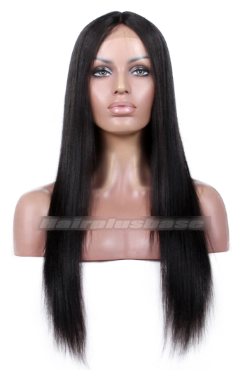 Yaki Straight Natural Looking Indian Remy Hair Middle Part Glueless Lace Part Lace Wigs