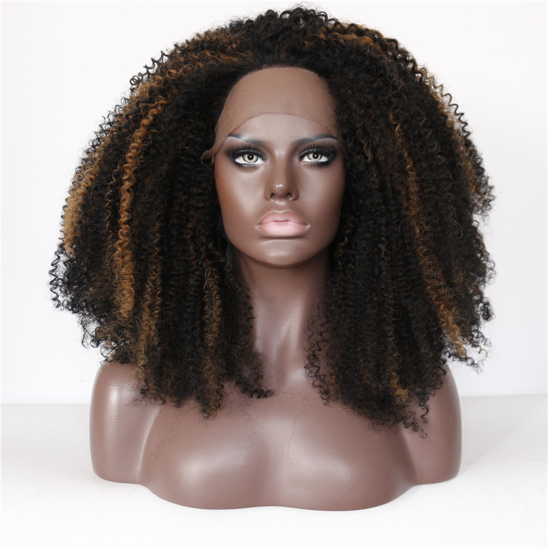 Mixed Color Afro Kinky Curly Glueless Lace Front Wigs