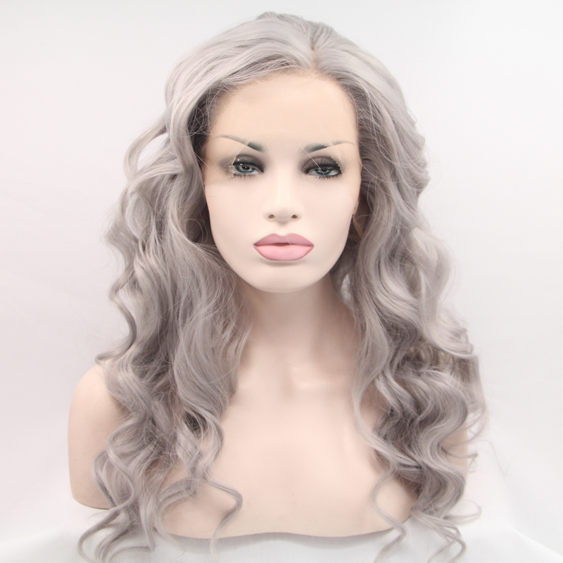 Natural Grey Long Body Wave Lace Front Wig For Black Women