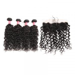 Natural Wave 13*4 Lace Frontal With 4 Bundles Brazilian Virgin Hair