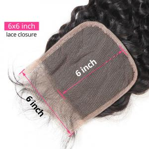 Natural Wave 6x6 Inch Lace Closure With 3 Hair Bundles Human Hair