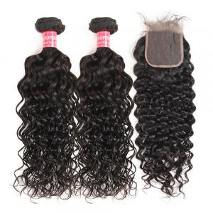 Natural Wave Hair 2 Human Hair Bundles With 4x4 Lace Closure Natural Wave Weave