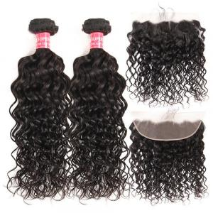 Natural Wave Weave 2 Hair Bundles With 13*4 Lace Frontal Natural Wave Hair
