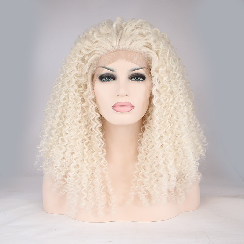 New Arrival White Loose Curly Synthetic Lace Front Wigs