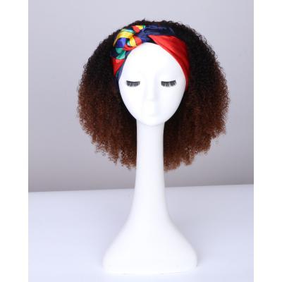 Ombre Afro Kinky Curly Headband Wigs 180% Density #1b/33