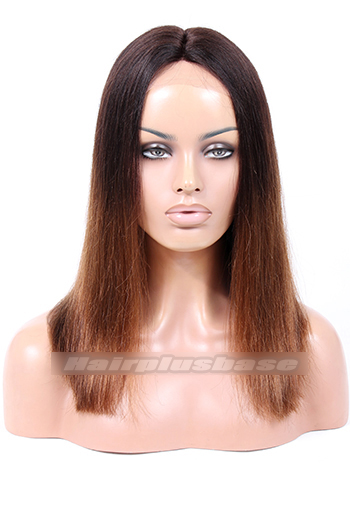 Yaki Straight Ombre Brown Indian Remy Hair Middle Part Thick Bob Glueless Lace Part Wigs{Custom Wig Production Time 10-15 days}